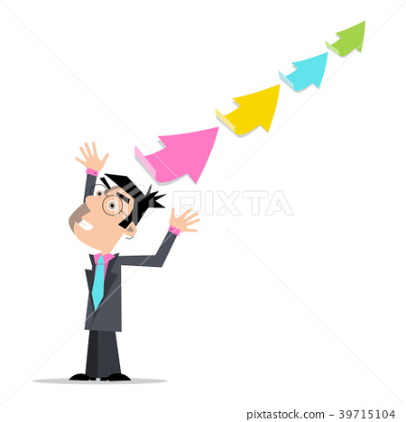 Businessman with Colorful Arrows 39715104