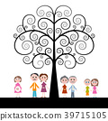 Family with Curled Tree on White Background 39715105