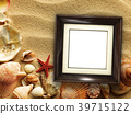 Picture frame on shells and sand background 39715122