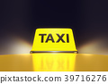yellow taxi sign on the roof of a car with street  39716276