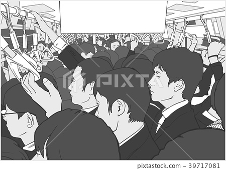 Illustration of salary men on metro in Tokyo 39717081