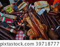 체코 농산물 시장 소시지와 살라미와 베이컨 39718777
