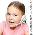 Cute little girl is talking to customers 39720267