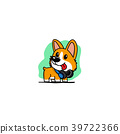 corgi puppy with blue headphones on neck icon 39722366