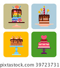 Wedding or Birthday pie cakes cards flat sweets 39723731