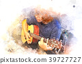 Abstract playing guitar on watercolor painting 39727727