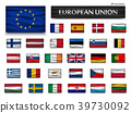 Flags of European Union and members . Wavy design  39730092