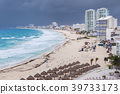 Cancun beach panorama view in bad weather 39733173
