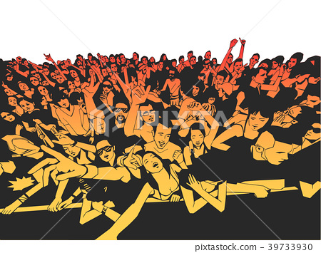 Illustration of festival party crowd at concert 39733930