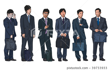 Isolated illustration of japanese salary men - Stock Illustration