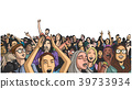 Illustration of large festival crowd at concert 39733934