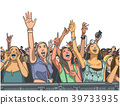 Illustration of fan girls cheering at concert 39733935