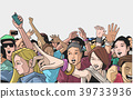 Illustration of party people at live concert 39733936