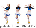 Cheerleader isolated on the white background 39734319