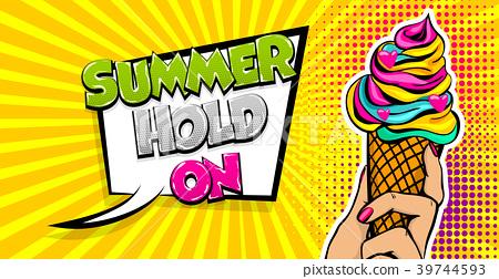 Comic text ice cream break time pop art 39744593