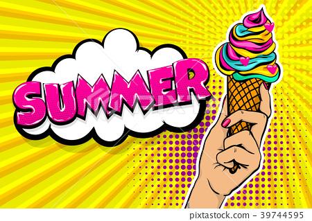 Comic text ice cream break time pop art 39744595