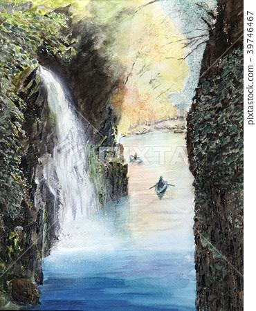 Takachiho Gorge Valley Miyazaki tourism Handwritten watercolor 39746467