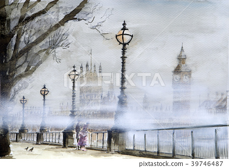 Misty london big pen london hand drawn watercolor 39746487