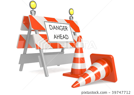 Danger ahead sign with traffic cones 39747712