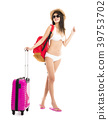 young woman in bikini posing with travel suitcase 39753702