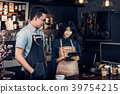 Asia Barista waiter take order from customer 39754215