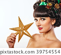 Girl with creative hair style Christmas 39754554