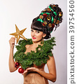 Girl with creative hair style Christmas 39754560