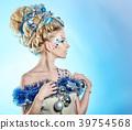 Girl with creative hair style Christmas 39754568