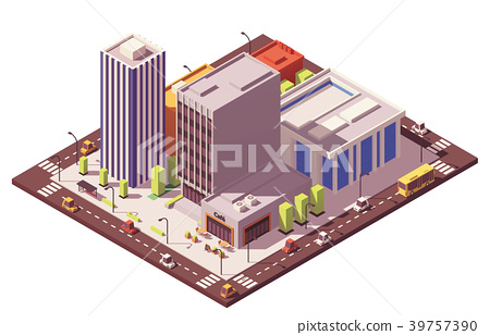 Vector low poly isometric city block 39757390