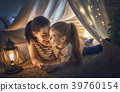 mother and daughter playing in tent 39760154