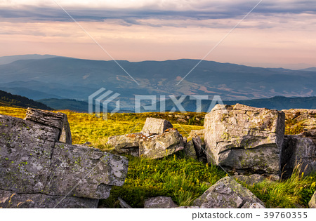 sunset light on hills with stones 39760355