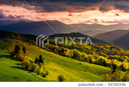 gorgeous sunset over Carpathian mountains 39760396