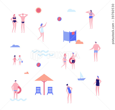 Beach holiday - flat design style set of isolated 39760530