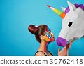 Sideview of pop art portrait of model wearing 39762448