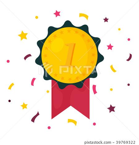 Winner prize medal. First place champion reward 39769322