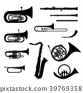 Music instruments set. Brass musical instruments 39769358