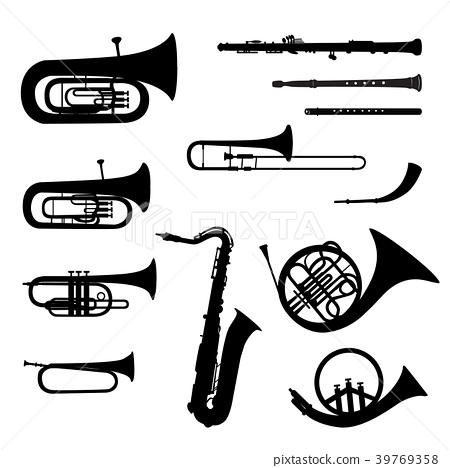 Music instruments set. Brass musical instruments 39769358