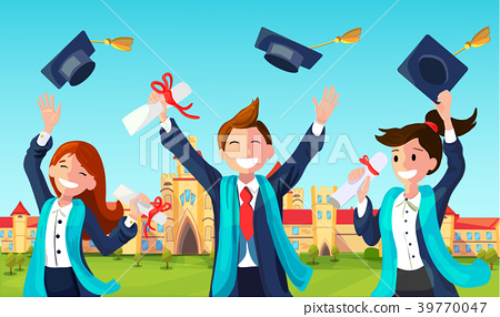 Students Throw Graduation Hats in Air. 39770047