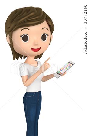 穿著T恤的女士使用手機 39772260