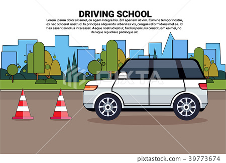Driving School Poster, Car On Road, Auto Drive 39773674