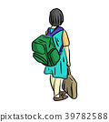 happy and smiling little girl with school bag  39782588