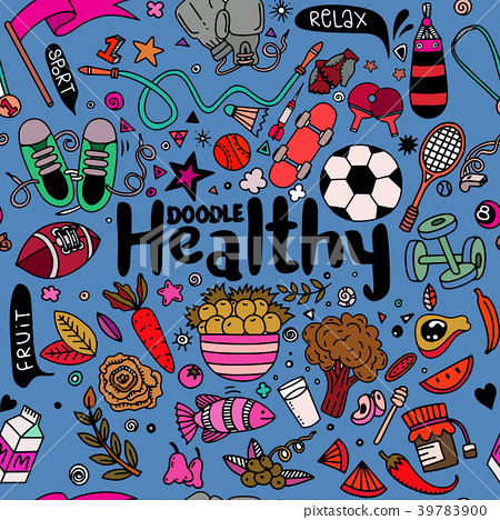 Healthy lifestyle concept,Hand drawn  39783900