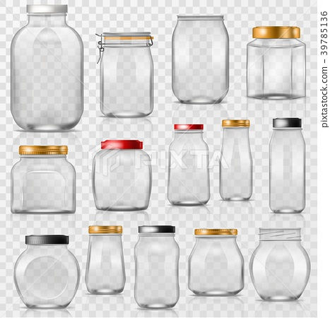 Glass jar vector empty mason glassware with lid or 39785136