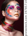 Beautiful girl with creative make-up in pop art 39785710