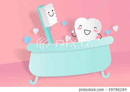 cute cartoon tooth with brush 39786284