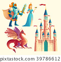 Vector fantasy set - knight, princess, dragon 39786612