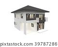 House 3d modern rendering on white background 39787286