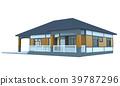 House 3d modern rendering on white background 39787296
