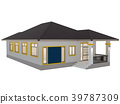 House 3d modern rendering on white background 39787309
