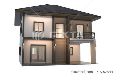 House 3d modern rendering on white background 39787344